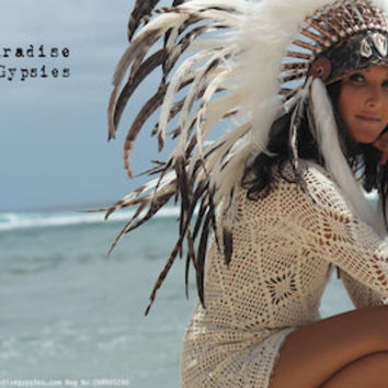 Shell Front Soft White into Black Feather Headdress Marble Black Gold Leather by Paradise Gypsies