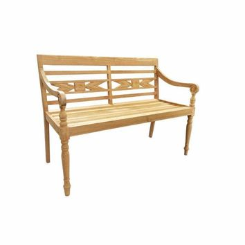 D Art Collection Teak Alwari Carved Bench 2 Seater