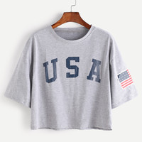 American Flag Letter Print Drop Shoulder Tee -SheIn(Sheinside)
