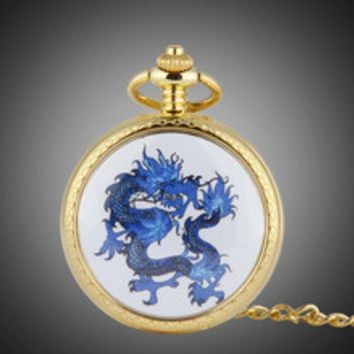 Luxury Gold Plated Men Fashion Pocket Watch Enamel Dragon Analog Clock Quartz Relojes 48CM Chain Orient Designer Relojes NW2921