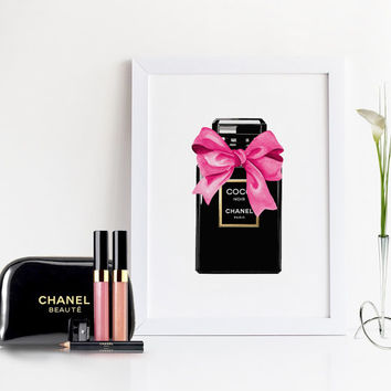COCO CHANEL DECOR,Chanel Perfume Bottle,Makeup Print,Gift For Her,Wall Art,Chanel Sign,Womens Gift,Digital Print,Pink,Girls Room Decor