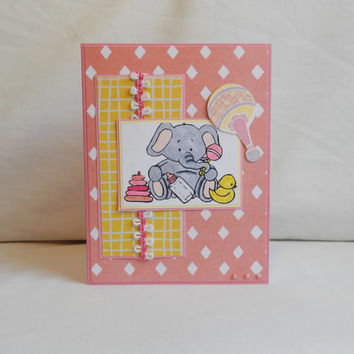 New Baby Card, Paper Handmade Greeting Card, Baby Girl, Expecting, Congratulations, Blank Card, Little Girl, Welcome Baby, Elephant, Pink