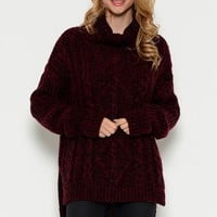 Rocky Oversized Sweater - Burgundy