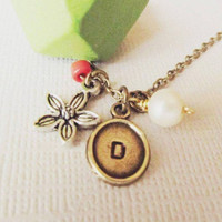 Geometric Wooden Necklace /Green Tribal Personalized Necklace / Stamped with Charms /Great gift