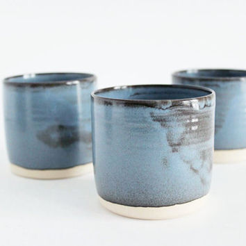 Made to order, Set of four ceramic cups, blue/brown pottery tumbler by julia paul pottery