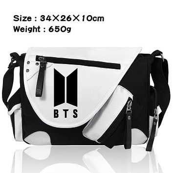 Boys bookbag trendy 2018 New BTS Canvas Single Shoulder Messenger Bags Boys Girls School Bags  Satchel Travelling Bag Gift AT_51_3