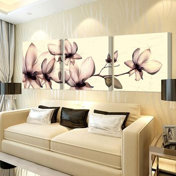 Art Oil Painting 3ps(no frame)Yellow orchid canvas poster