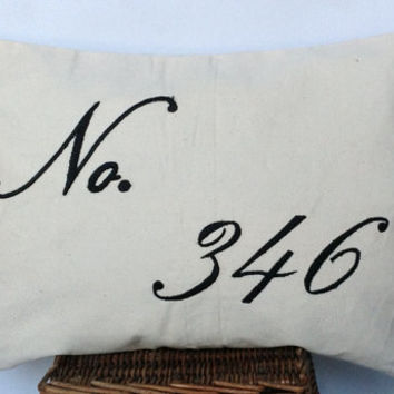 House number embroidered pillow cover- Custom house number pillow cover 12x20-Monogram Lumbar Pillow