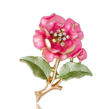 Cute Ladies Broches Wedding Dress Plant Jewelry Crystal Rhinestone Flower Brooch For Women Broshce Metal Leaf Broches Mujer pins