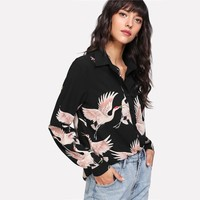 Women Shirts Floral  Print Button Up Blouse Multicolor Spring Casual Lapel Long Sleeve