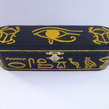 Hand-painted Black and Gold Jewellery/Pencil box. Decorated in an Egyptian Style.