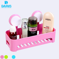 DARIS Multifunction Suction Cup Corner Bathroom Set Shelf Wall Mounted Dual Layer Storage Shelves Box Storage Bathroom Holder