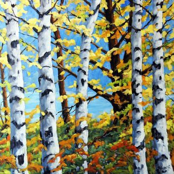 Where The Birches Grow  large oil painting by PrankePaintings