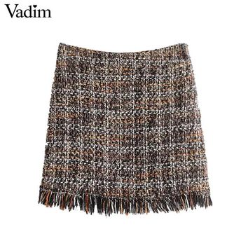 Vintage fringe tassels plaid skirts warm chic side zipper ladies fashion casual mini skirts