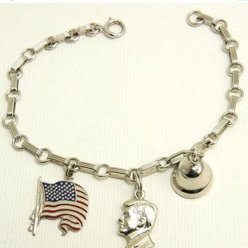 Sterling Silver Patriotic Charm Bracelet Flag Bell Kennedy Charms