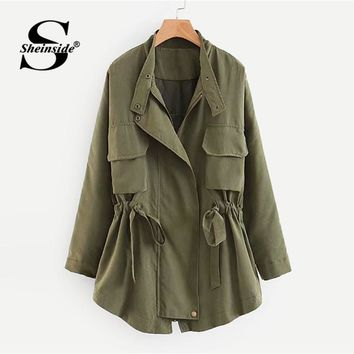 Sheinside Plain Stand Collar Drawstring Workwear Jacket Office Ladies Zipper Regular Fit Military Women Autumn Casual Jackets