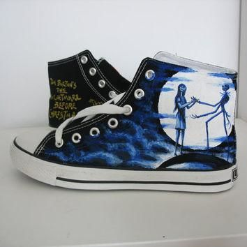 custom converse nightmare before christmas shoes hand painted on converse sneaker