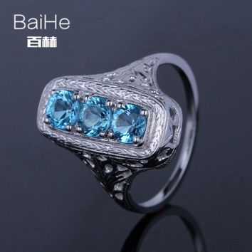 BAIHE Sterling Silver 925(S925) 1.4CT Certified Flawless 100% Genuine Blue Topaz Anniversary Women Vintage Fine Jewelry Ring