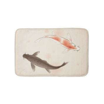 Yin Yang Koi fishes in oriental style painting Bath Mats