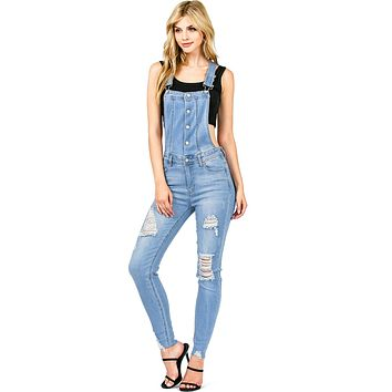 Bolt Distress Skinny Overalls