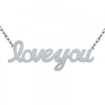 "Sterling Silver High Polished """"Love You"""" Necklace"