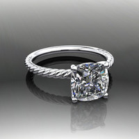 Forever Brilliant Moissanite Solitaire Engagement Ring Cushion Cut 2.50 CT