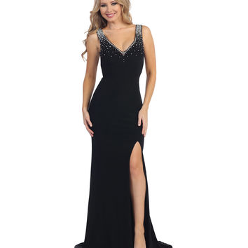 Black Beaded V-Neck Sheer Back Slit Dress 2015 Prom Dresses