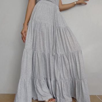 Women Ruffle Long Skirt , Casual Gypsy, Bohemian , Cotton Blend In Light Gray (Skirt *B4).