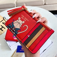 Tory Burch Hot Sale Women Cute Leather Red Zipper Wallet Purse