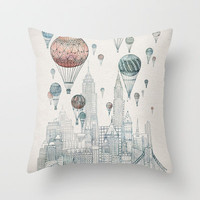Voyages Over New York Throw Pillow by David Fleck