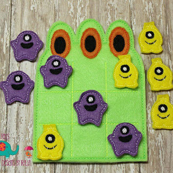 Monster tic tac toe game embroidered, board game activity travel game quiet game busy bag felt board play set halloween