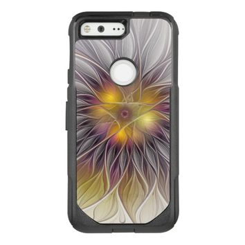 Luminous Colorful Flower, Abstract Modern Fractal OtterBox Commuter Google Pixel Case