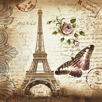 Paris Shower Curtains Bathroom Mildewproof Polyester Butterfly & Rose & Eiffel Tower Curtains Waterproof Fabric with Hooks