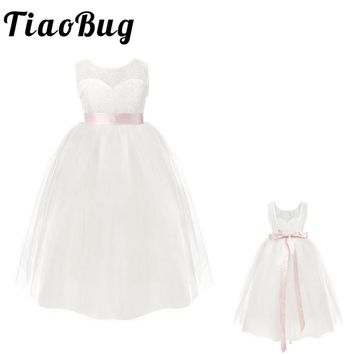 2-12Y Ball Gown Prom Formal Maxi Dress Kids Girls Flower White Lace Dress for Party and Wedding Bridesmaid Floral Girl Dress