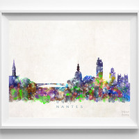 Nantes Skyline Print, Italy Print, Nantes Poster, Italy Cityscape, Watercolor Art, Home Decor, Giclee Art, Room Art, Christmas Gift