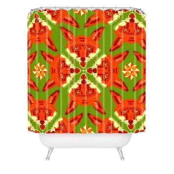 Chobopop Geometric Fox Shower Curtain