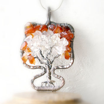 Tree Of Life Necklace, Rustic Earthy Carnelian Tree of Life, Mixed Metals Pendant, Sterling Silver and Copper Tree