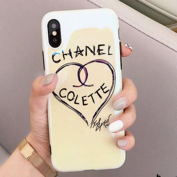 Chanel Fashion Women Cute Iphone 8plus mobile phone shell Love Pattern iphone 6/7 Blue Light Soft Shell Full Bag Edge Iphone X