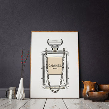 Decor Perfume Print Vanity Decor Paris Wall Art CHANEL PRINT Fashion Art French  Perfume Poster Coco Chanel Perfume Print Coco Mademoiselle