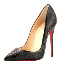 Christian Louboutin Kristali Laser-Cut Leather Red Sole Pump, Black