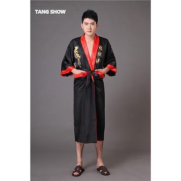 Two Side Chinese Men's Silk Satin Robe Reversible Embroidery Dragon Nightgown Sleepwear Kimono Gown S M L XL XXL XXXL MR013