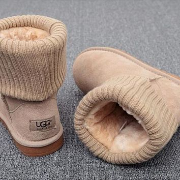 UGG Plush Leather Boots Boots In Tube Boots-4