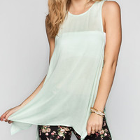 Ali & Kris Lattice Side Womens Sharkbite Tank Mint  In Sizes