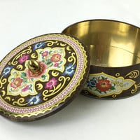 Vintage Pink & Brown Floral Storage Tin with Lid Decorative Daher Tin with Gold Scroll Blooming Flowers Cottage Chic Storage Tin