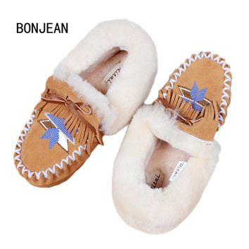 Women Winter Fur Shoes Snow Boots Shoes Genuine Leather Moccasins Boat Ankle Boots Warm Indoor Shoes Soft Wool Home Shoes