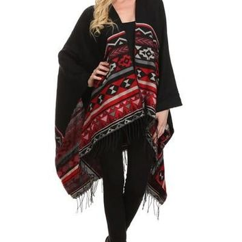 One Size Tribal Print Poncho