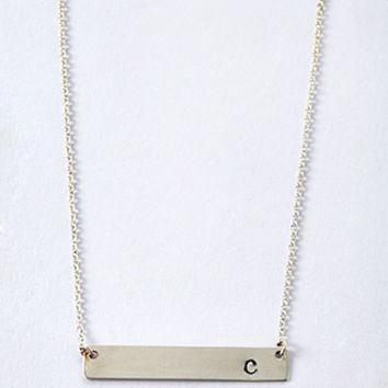 Adorn512 Initial C Bar Necklace