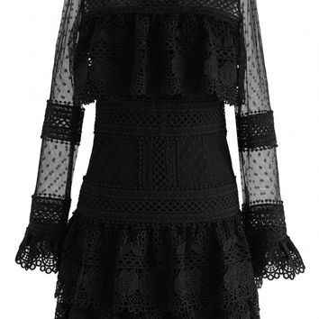 Sweet Destiny Tiered Crochet Mesh Dress in Black