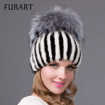 2017 new Real knitted Mink Fur Hat with silver Fox Fur Caps pom poms for women winter beanies fur hats flexible flat brim DHY-26