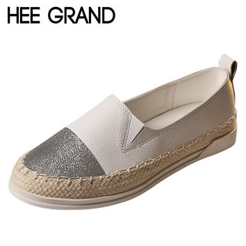 HEE GRAND Glitter Loafers 2017 Summer Slip On Flats Fisherman Shoes Woman Casual Spring Women Flat Shoes Plus Size 35-43 XWD4898